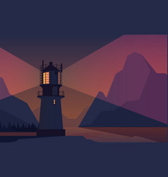 night landscape lighthouse ocean with rocks vector image