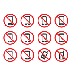 no cell phone sign mobile phone prohibited vector image