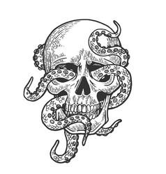 Octopus in human skull vector