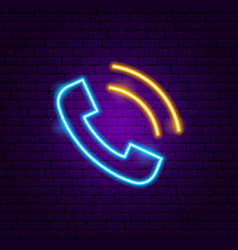 phone call neon sign vector image