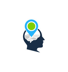 pin brain logo icon design vector image