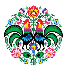 Polish folk art floral embroidery with roosters vector
