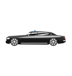 premium black executive sedan with blue flasher vector image
