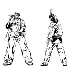 raper and graffiti guy on white background vector image