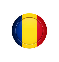 Romanian flag on the round button vector