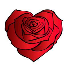 Rose hart flower red cartoon 02 vector