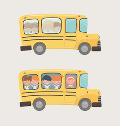 school bus transport with group kids vector image
