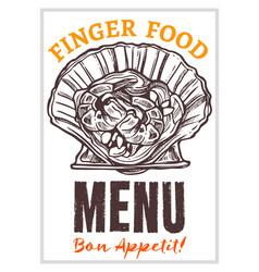 seafood restaurant menu hand drawn poster vector image