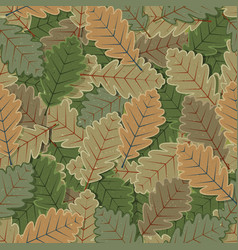 Seamless oak tree leaves background vector