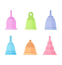 Set different silicone menstrual cups vector