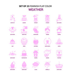 Set of 25 feminish weather flat color pink icon vector