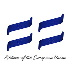 set of four modern colored eu ribbons vector image
