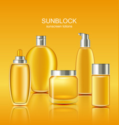 set sunscreen protection cosmetics sun care vector image