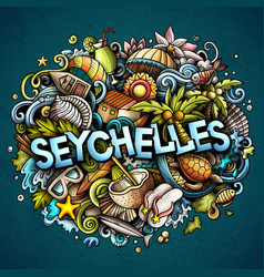 seychelles hand drawn cartoon doodles vector image
