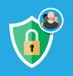 Shield icon with lock and user silhouette symbol vector