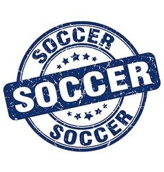 Soccer blue grunge round vintage rubber stamp vector