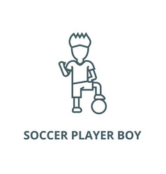 soccer player boy line icon linear concept vector image