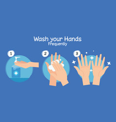 Steps washing hands frequently pandemic of vector