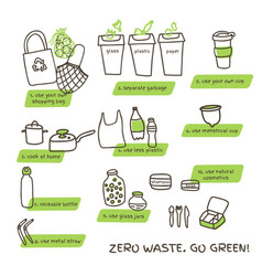 Tips for zero waste lifestyle doodle vector