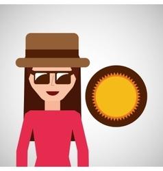 Toursit female hat sunglasses sunny vector