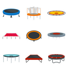 Trampoline jumping park joy icons set flat style vector