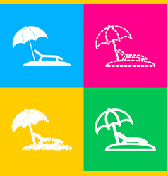 tropical resort beach sunbed chair sign four vector image