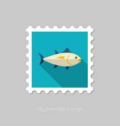 Tuna stamp fishing vacation vector