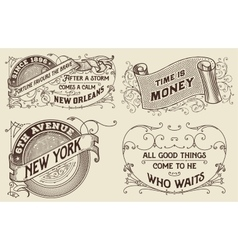 Vintage labels set Elements organized by layers vector image