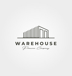 Warehouse storage line art logo design line art vector