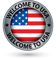 Welcome to usa silver label with flag vector