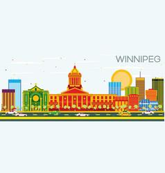 Winnipeg skyline with color buildings and blue sky vector