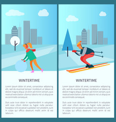 Wintertime woman and snowball vector