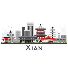 Xian china skyline with color buildings isolated vector