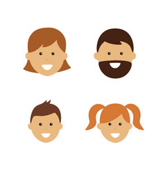 cartoon family face icons two adults and two vector image
