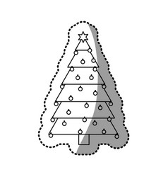 monochrome silhouette sticker of christmas tree vector image vector image