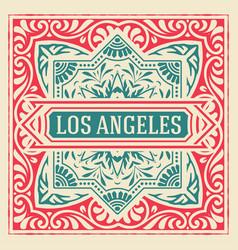 vintage elegant line art logo emdlem design vector image vector image