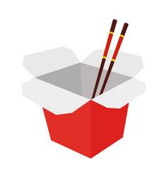 wok box with chopsticks cartoon flat style vector image vector image