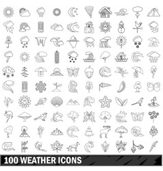 100 weather icons set outline style vector image vector image
