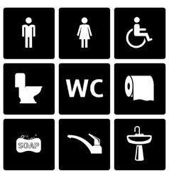 black toilet icon set vector image vector image