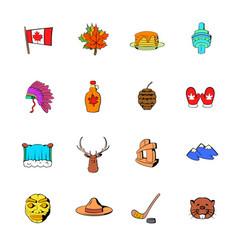 canada icons set cartoon vector image