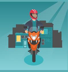 caucasian man riding a motorcycle at night vector image vector image