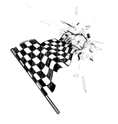 Drawing checkered flag in the dynamic style vector image