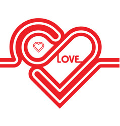 heart red icon line vector image vector image