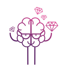 line brain kawaii with dimonds icon vector image vector image