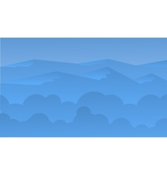 Silhouette of beautiful hill and blue sky vector image vector image