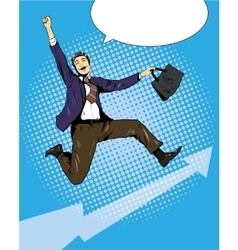 Successful businessman Career growth and vector image