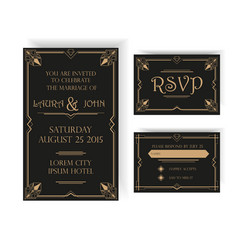 Wedding invitation and rsvp card - art deco vector