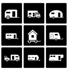 black trailer icon set vector image vector image