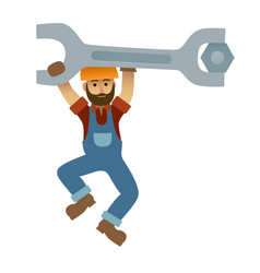 cartoon mechanic holding a huge wrench under vector image