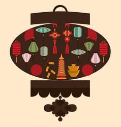 chinese lantern silhouette vector image